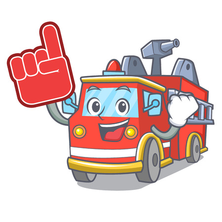 Foam finger fire truck mascot cartoon Stock Illustratie