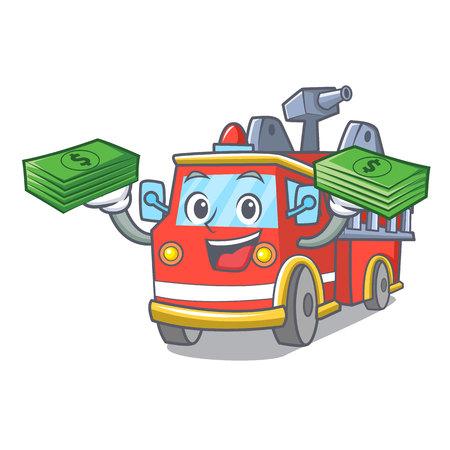 With money bag fire truck mascot cartoon