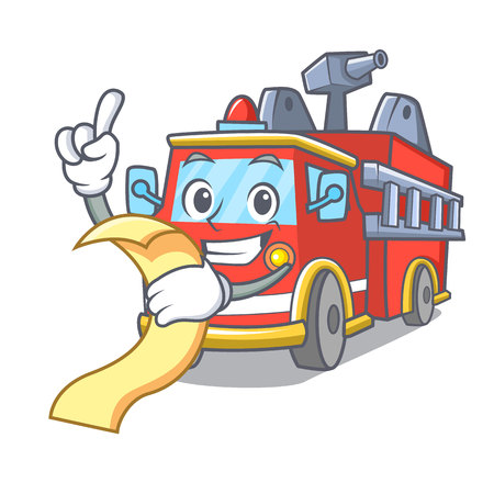 With menu fire truck mascot cartoon Иллюстрация
