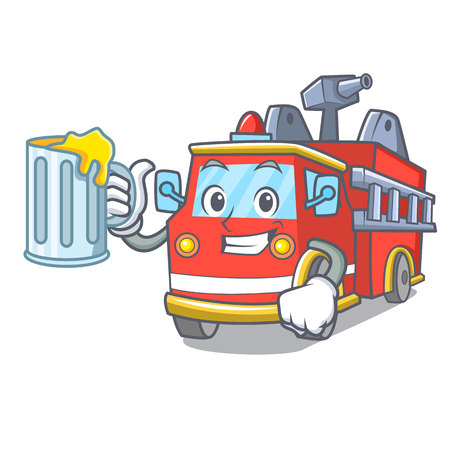 With juice fire truck mascot cartoon