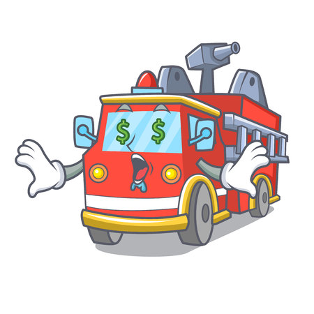 Money eye fire truck mascot cartoon