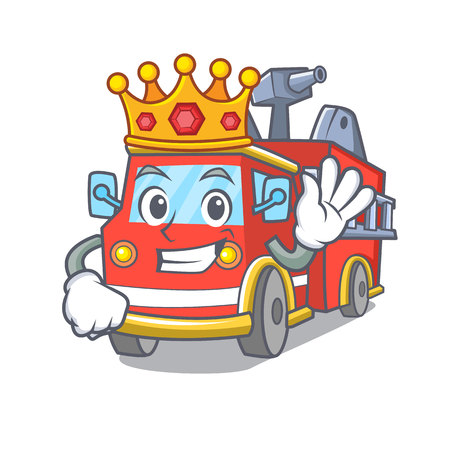 King fire truck mascot cartoon