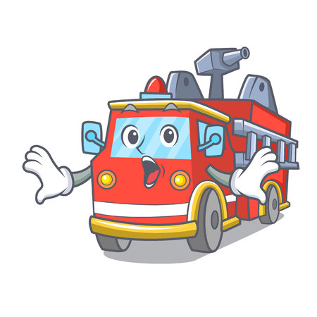 Surprised fire truck mascot cartoon Иллюстрация