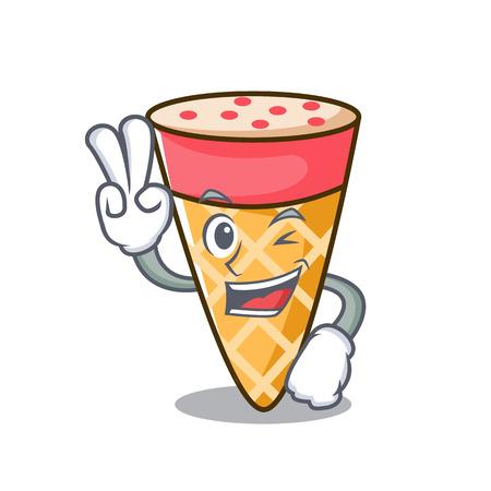 Two finger ice cream tone character cartoon Stock Illustratie