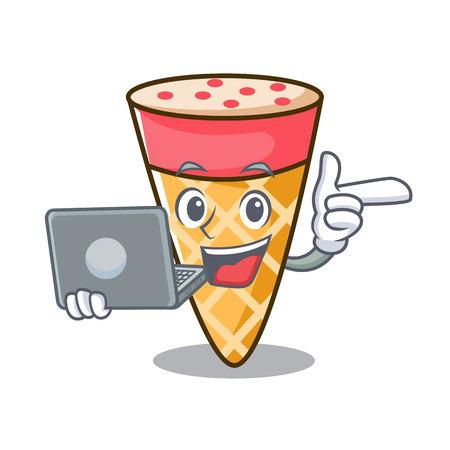 With laptop ice cream tone character cartoon