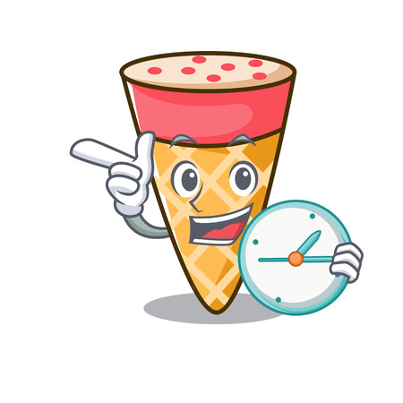 With clock ice cream tone character cartoon