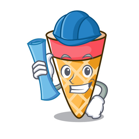 Architect ice cream tone character cartoon