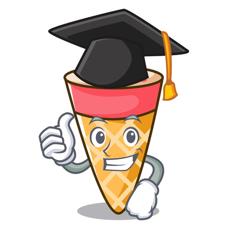 Graduation ice cream tone character cartoon vector illustration Stock Photo