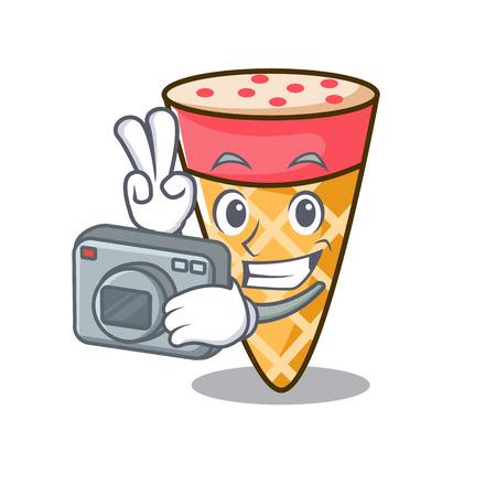 Photographer ice cream tone mascot cartoon vector illustration