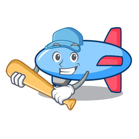Playing baseball zeppelin character cartoon style Illustration