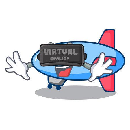 Virtual reality zeppelin mascot cartoon style Ilustração