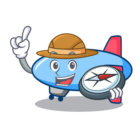 Explorer zeppelin mascot cartoon style vector illustration