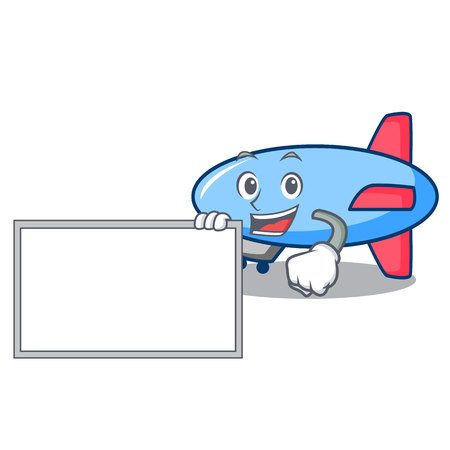 With board zeppelin character cartoon style vector illustration Иллюстрация