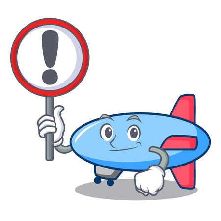 With sign zeppelin character cartoon style vector illustration