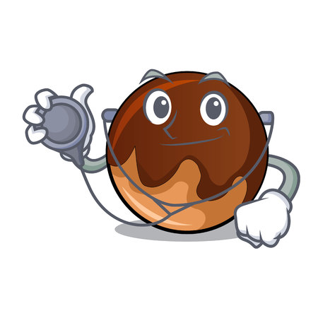 Doctor chocolate donut character cartoon vector illustration
