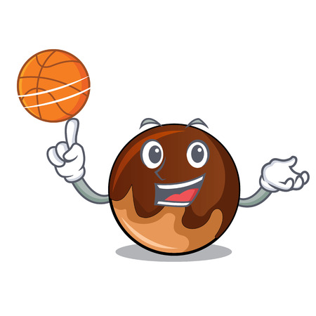 With basketball chocolate donut character cartoon vector illustration