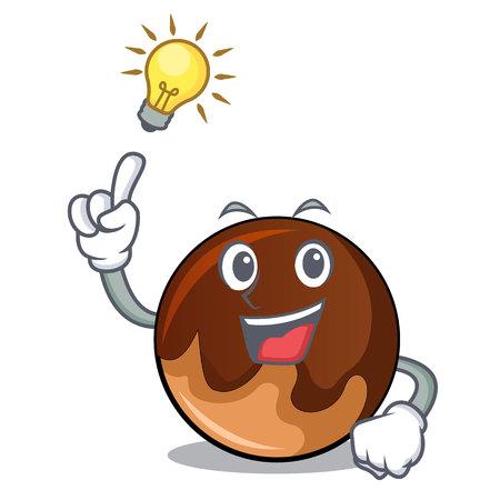 Have an idea chocolate donut mascot cartoon vector illustration