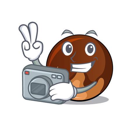 Photographer chocolate donut mascot cartoon vector illustration