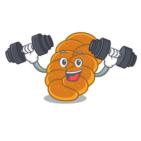 Fitness challah character cartoon style vector illustration