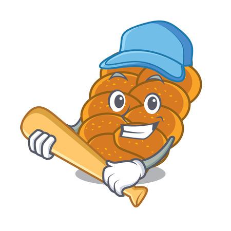 Playing baseball challah character cartoon style vector illustration