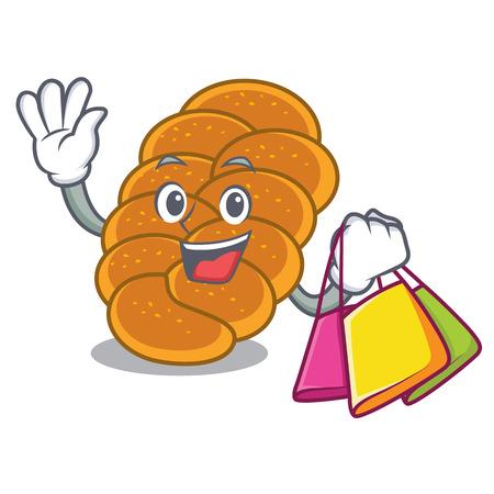 Shopping challah character cartoon style vector illustration