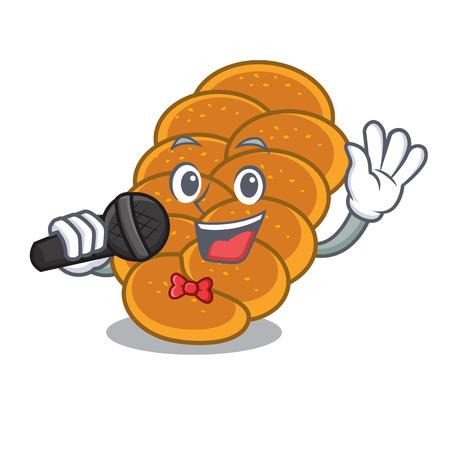 Singing challah mascot cartoon style vector illustration