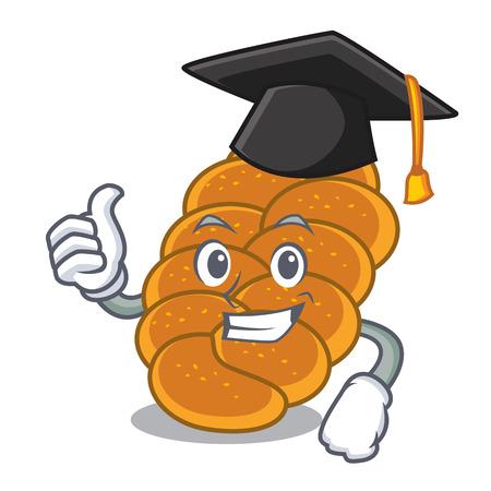 Graduation challah character cartoon style vector illustration