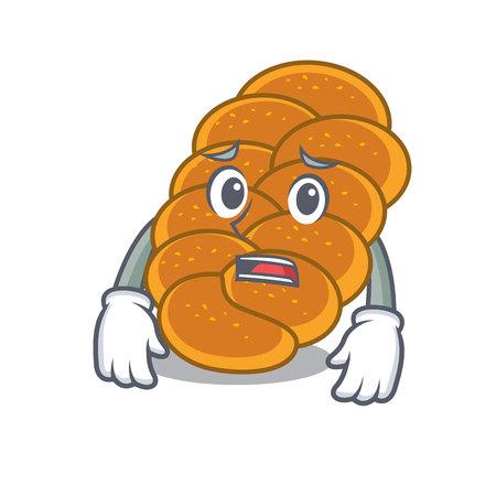 Afraid challah mascot cartoon style vector illustration Illustration