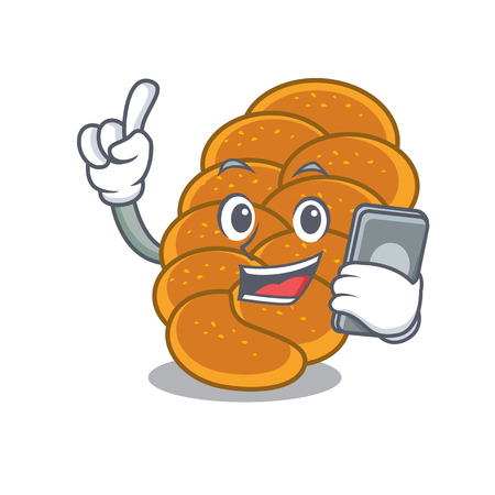 With phone challah character cartoon style vector illustration