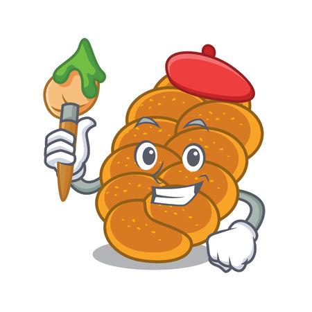 Artist challah character cartoon style vector illustration Ilustração