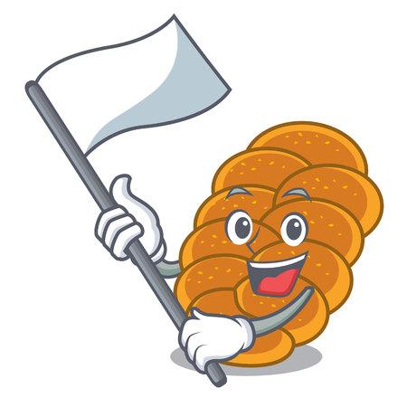 With flag challah mascot cartoon style vector illustration Illustration