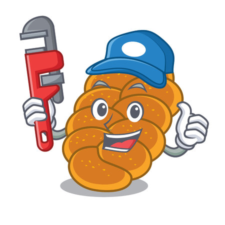 Plumber challah mascot cartoon style vector illustration