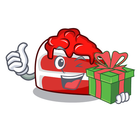 With gift red velvet mascot cartoon Illustration