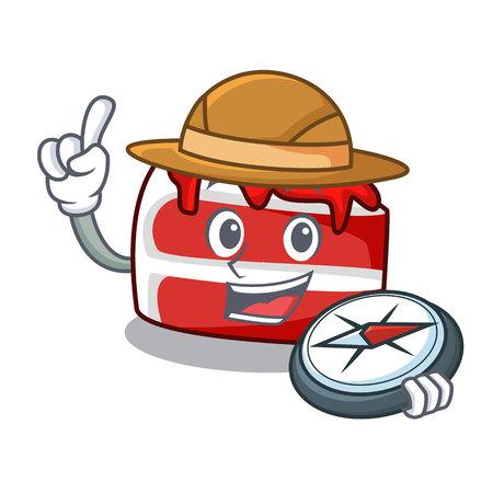 Explorer red velvet mascot cartoon Illustration
