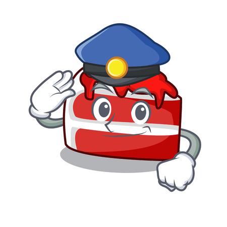 Police red velvet character cartoon Illustration