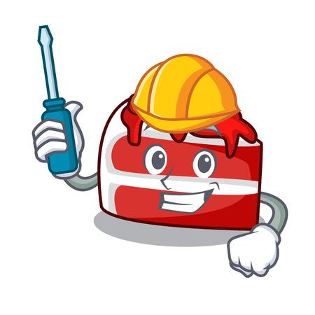 Automotive rood fluweel mascotte cartoon