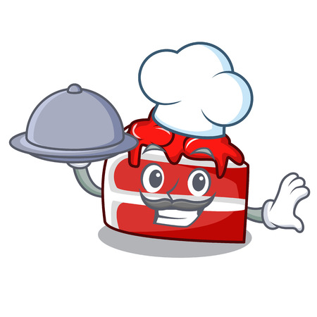 Chef with food red velvet mascot cartoon Illustration