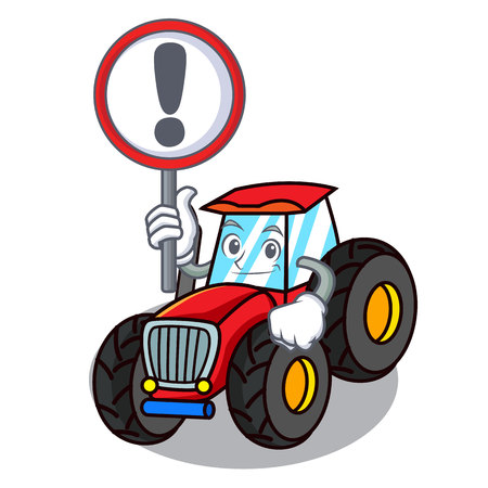 With sign tractor character cartoon style