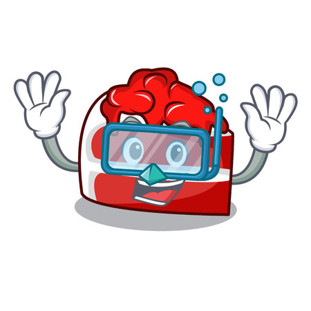 Diving red velvet character cartoon