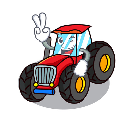 Two finger tractor character cartoon style