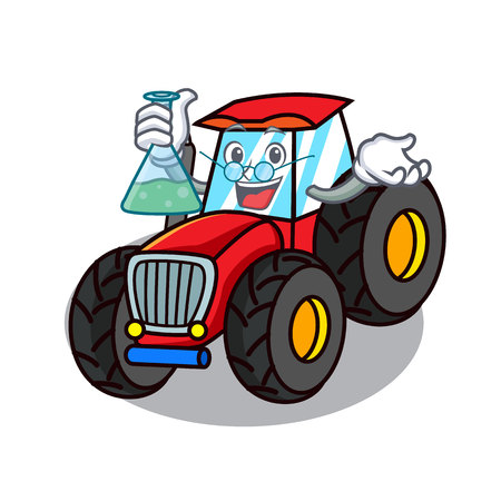 Professor tractor character cartoon style