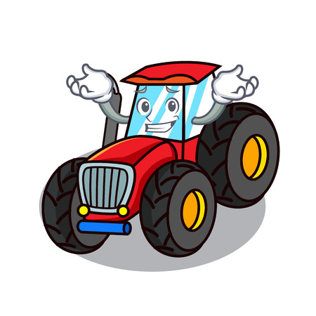 Grinning tractor character cartoon style Illustration