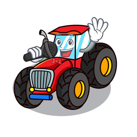 Singing tractor mascot cartoon style