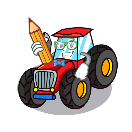 Student tractor character cartoon style