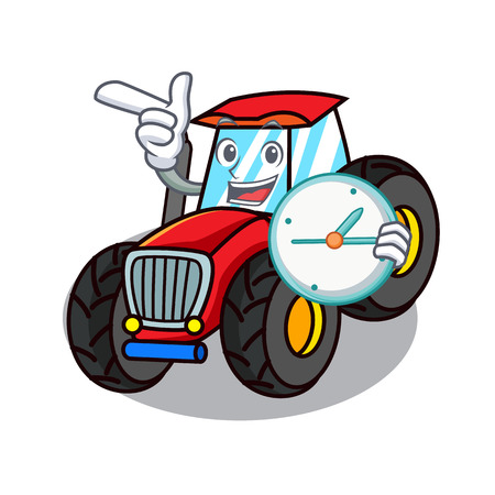 With clock tractor character cartoon style