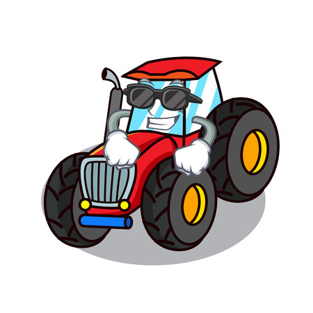 Super cool tractor character cartoon style