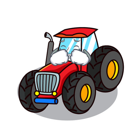 Crying tractor mascot cartoon style Illustration