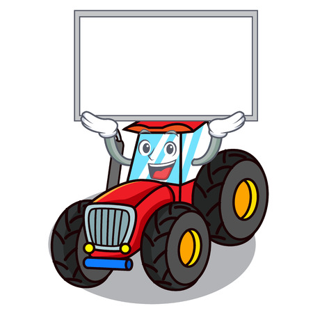 Up board tractor character cartoon style