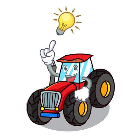 Have an idea tractor mascot cartoon style vector illustration