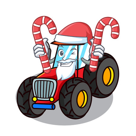 Santa with candy tractor mascot cartoon style vector illustration